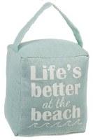 "5"" Green Life's Better at Beach Fabric Door Stopper"