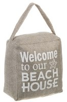 "5"" Brown Welcome Beach House Fabric Door Stopper"