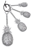 "5"" Set of 4 Silver Pineapple Measuring Spoons"