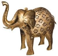 "19"" Distressed Brass Finish Elephant Lantern"