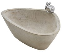 """6"""" Whitewash Wood Bowl With Silver Metal Bunny Accent"""