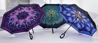 "32"" Purple Floral Reversible Umbrella"