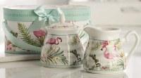 """7"""" Gift Boxed Flamingo Sugar and Creamer Set"""