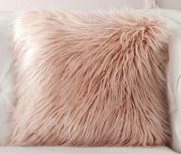 "18"" Square Pink Faux Fur Pillow"