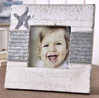"""5"""" x 5"""" Distressed White Finish and Galvanized Metal Star Photo Frame"""