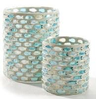 "4"" Aqua and Clear Glass Fish Design Votive Holder"