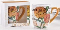 12 oz. October Flower Ceramic Mug