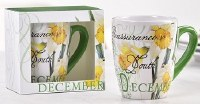 12 oz. December Flower Ceramic Mug