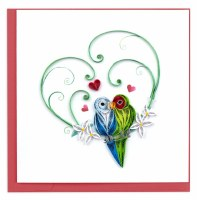 """6"""" x 6"""" Quilling Love Birds Card"""