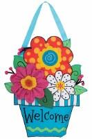 """21"""" Welcome Flower Pot Fabric Door Hanger"""