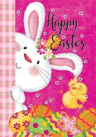 """40"""" x 28"""" Happy Easter Bunny With Chick Flag"""