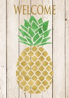 """40"""" x 28"""" Distressed White and Gold Finish Welcome Pineapple Flag"""