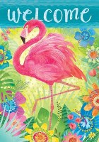 """40"""" x 28"""" Floral Welcome Flamingo Flag"""