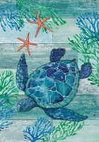 """40"""" x 28"""" Blue and Green Sea Turtle Flag"""