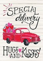 """18"""" x 12"""" Mini Special Delivery Hugs and Kisses Garden Flag"""