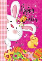 """18"""" x 12"""" Mini Happy Easter Bunny With Chick Flag"""