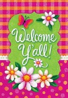 """18"""" x 12"""" Mini Pink and Green Welcome Y'all Flag"""