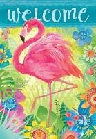 "18"" x 12"" Mini Floral Welcome Flamingo Flag"