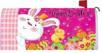 """7"""" x 19"""" Happy Easter Bunny With Chick Mailbox Cover"""