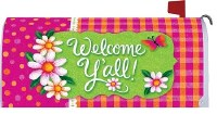 "7"" x 12"" Pink and Green Welcome Y'all Mailbox Cover"