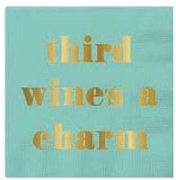 "5"" Square Aqua Third Wine's Charm Paper Beverage Napkins"