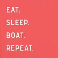 "5"" Square Eat, Sleep, Boat Paper Beverage Napkins"
