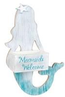 "16"" Wood Mermaids Welcome Wall Treasure Box"