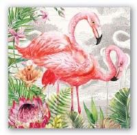 """5"""" Square Flamingo Paper Beverage Napkins"""