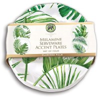 "Set of Four 8"" Round Palm Fronds Melamine Plates"