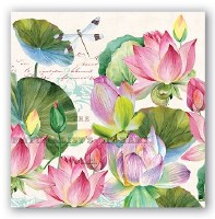 """5"""" Square Water Lilies Paper Beverage Napkins"""