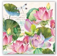 "7"" Square Water Lilies Luncheon Napkins"