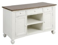 """52"""" Distressed White and Brown Finish Wood Shutter Door Credenza"""