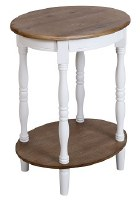 """16"""" Round Distressed White and Brown Finish Wood Shelf Table"""