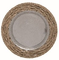 "20"" Round Galvanized Metal Tray With Rope Trim"