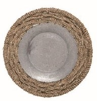 "18"" Round Galvanized Metal Tray With Rope Trim"