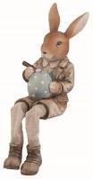 "8"" Brown Polyresin Boy Bunny Shelf Sitter"