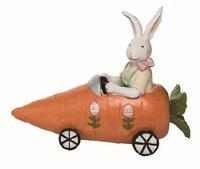"""7"""" Polyresin Boy Bunny in Carrot Car"""