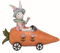 """7"""" Polyresin Girl Bunny in Carrot Car"""