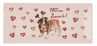 "4"" x 9"" Bulldog Wanna Smooch Valentine Tray"