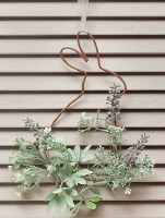 """12"""" Hanging Wire Bunny Silhouette With Faux Greenery"""
