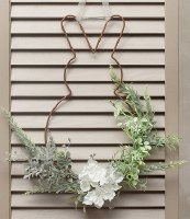 """16"""" Hanging Wire Plump Bunny Silhouette With Faux Greenery"""