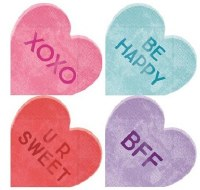 "4"" Pack of 16 Candy Heart Shaped Paper Beverage Napkins"