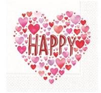 "5"" Square Happy Hearts Paper Beverage Napkins"