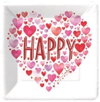 """7"""" Pack of 8 White and Red Happy Hearts Paper Dessert Plates"""