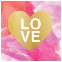 "5"" Square Multicolor Painterly Love Paper Beverage Napkins"