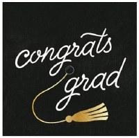 "5"" Square Black Congrats Grad Paper Beverage Napkins"