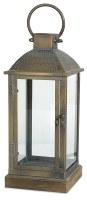 "16"" Distressed Brass Finish and Glass Square Lantern"