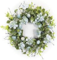 """22"""" Round Faux Blue and Green Egg Wreath"""