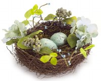 """11"""" Round Faux Blue and Gren Egg Nest"""