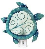"6"" Turquoise Capiz Metal Turtle Nightlight"